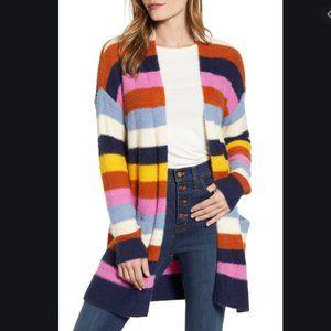 NWT Caslon Fluffy Striped Cardigan M Long Line